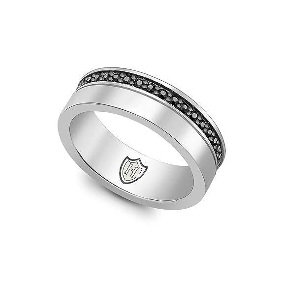 Hoxton London Men's Sterling Silver Black Sapphire Set Ring