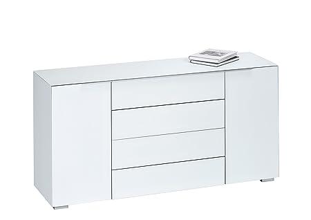MAJA Möbel 7216 9936 Kommode, weißglas matt, Abmessungen 159 x 79,40 x 46,20 cm