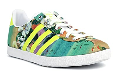 adidas Originals Women's Gazelle Og Wc Farm W Lime Green and Multi Sneakers