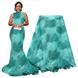 pqdaysun African Lace Fabric Swiss 5 Yards 2019 Nigerian Lace French Beaded Tulle Fabric Wax Fabric for Wedding Party (Aqua) (Color: Aqua, Tamaño: 5 yards)