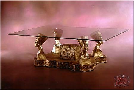 Ägyptische Couchtisch Nofretete Antik Wohnzimmertisch Tisch Glastisch Luxusmöbel