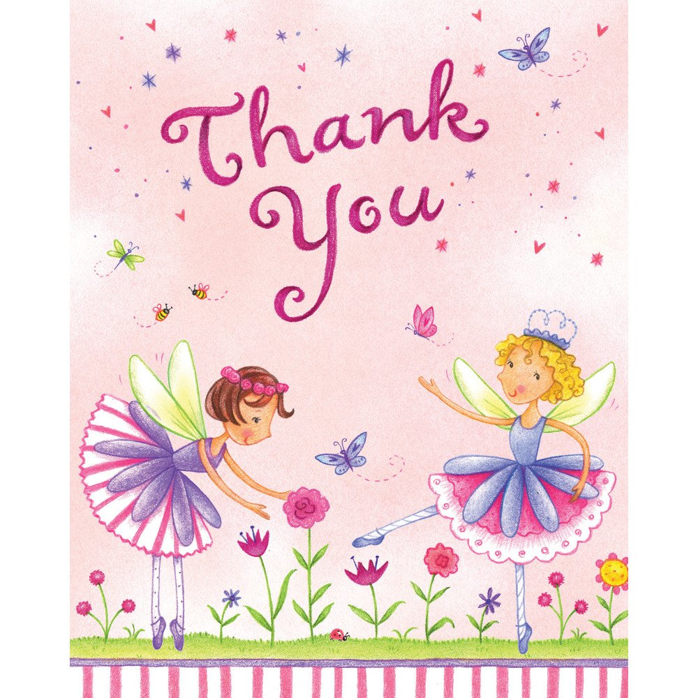 Creative Converting Garden Fairy 8 Count Thank You Cards