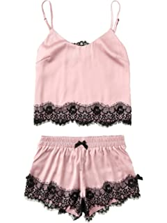 bc264e35f7c SheIn Women s Lace Cami and Shorts Pajamas Set Sleepwear Nightwear ...