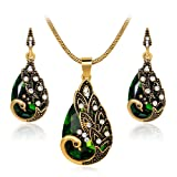 Ezing Women Gift Vintage Gold Plated Green Peacock Jewelry Set Pendant Necklace Earrings (green)