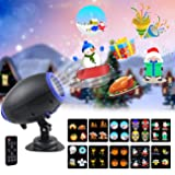 UOOYOO Christmas Projector Lights, 10 Slides Animated Projector Outdoor Light Waterproof Landscape Lighting for Christmas, Party, Thanks Giving, Birthday, with Wireless Remote (Color: Black)