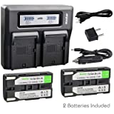 Kastar Fast Dual LCD Charger + 2X Battery for Samsung SB-L160 VP-L3000 VP-L4000 VP-L500 VP-L520 VP-L530 VP-L550 VP-L600 VP-L610 VP-L630 VP-L650 VP VP-W63 VP-W70 VP-W70U VP-W80 VP-W87 VP-W90 MD9014 (Tamaño: 1 Fast Dual LCD Charger + 2 Batteries)