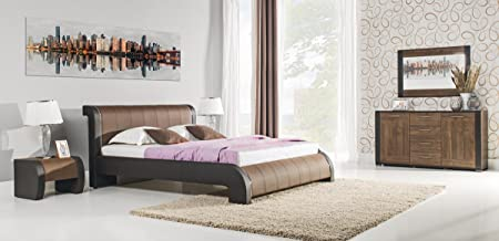 NOE brown 160 cm wide bed frame with bed slats without mattress faux leather bedroom furniture beds