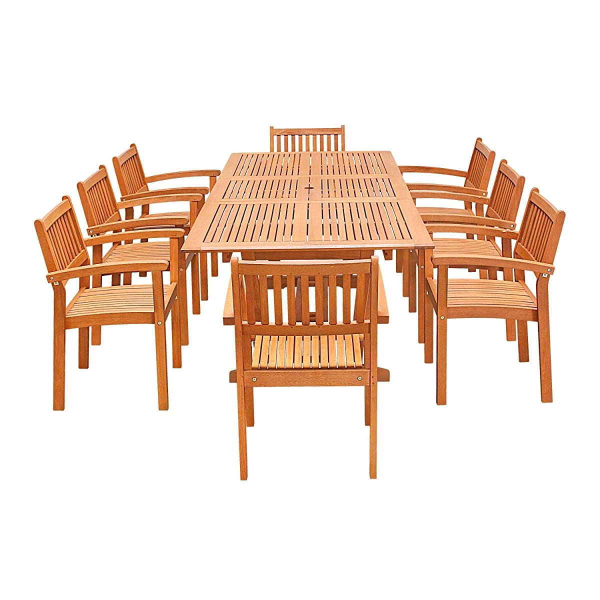 VIFAH V232SET33 9 Piece Outdoor Wood Dining Set with Rectangular Extension Table and Stacking Chairs