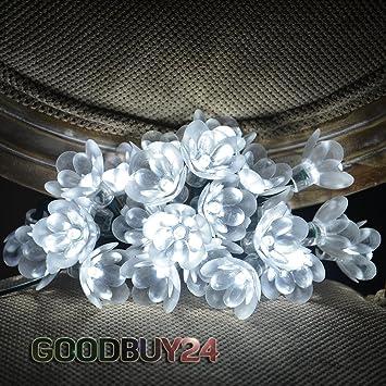 solar lichterkette mit blumen lotus lotos partylichterkette partyleuchten 24 led wei dc949. Black Bedroom Furniture Sets. Home Design Ideas