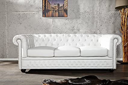 Invicta Interior 11222 Chesterfield Sofa 3-er mit Nietenbesatz, weiss matt