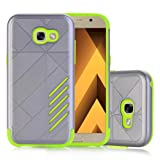 Coohole Fashion Hard Soft Rubber Impact Armor Back Hybrid Case Cover For Samsung Galaxy A7 2017 (Green) (Color: Green)