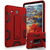 TIANLI Samsung Galaxy Tab E 9.6 Case Anti-Scratch Shockproof Three Layer Full Body Armor Protection with Sturdy Kickstand Anti-Fingerprint,Red Black (Color: Red/Black)