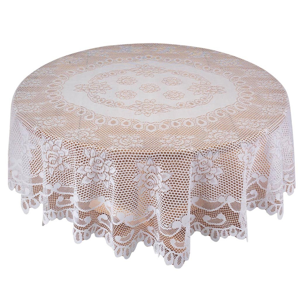 "White Rose Lace Tablecloth - 72"" Round"