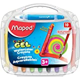 Maped Color 'Peps Gel Retractable Watercolor Crayons & FREE Brush, Assorted Colors, Pack of 10 (836345)