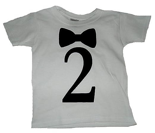 Custom Kingdom Boys' Bow Tie Second Birthday T-shirt White (2T)