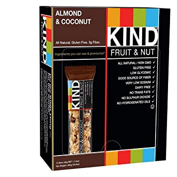 KIND Fruit & Nut, Almond & Coconut, All Natural, 39 g Gluten Free Bars, (Pack of 12) [Kohlenhydrate]