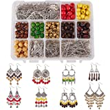 SUNNYCLUE 1 Box DIY 8 Pairs Bohemian Wooden Tassel Earrings Making Starter Kit Jewelry Findings Beading Supplies for Beginners Adults (Color: Mixed Color)