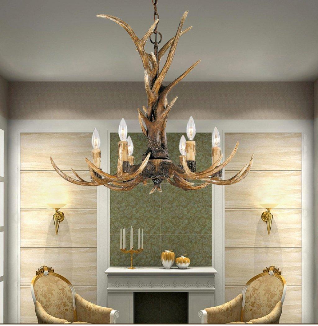 EFFORTINC Vintage Style Resin Antler Chandelier 6 Lights,Living room,Bar,Cafe, Dining room, Bedroom,Study,Villas,American Retro Deer Horn Pendant Lights 4