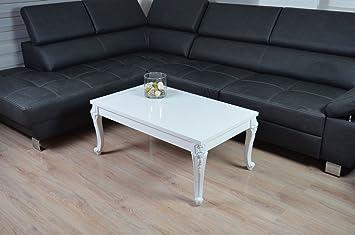 Couchtisch Hochglanz weiß Barock Wohnzimmer Lack Tisch Sofatisch Beistelltisch 100 x 60 cm