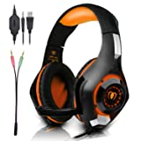 Beexcellent Gaming Headset with Microphone for New Xbox PS4 PC Smart phone Laptops- Surround Sound, Noise Reduction Game Earphone - Easy Volume Control with LED Lighting 3.5MM Jack (Orange) (Color: Orange)
