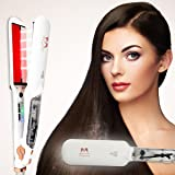 Hair Straightener Irons Salon Steam Infrared Hair Straightener Megainvo 2'' Ceramic Tourmaline Flat Iron Hair Straightening Professional Digital Hair Steam Styler Iron for Keratin Healthy & Shiny Hair