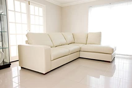 BRAND NEW - WESTPOINT - CORNER SOFA – FAUX LEATHER – RIGHT HAND SIDE (cream)