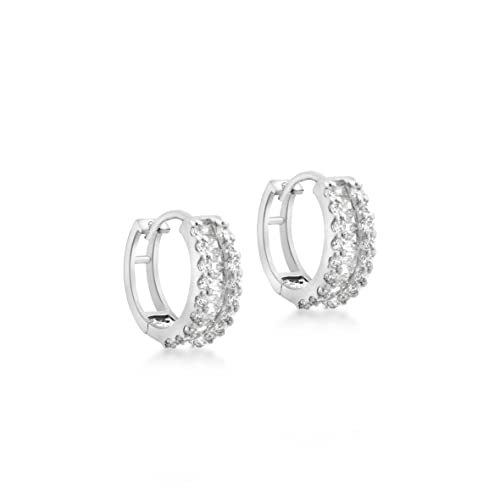 Carissima Gold 9 ct Baguette and Round Cubic Zirconia Huggie Earrings