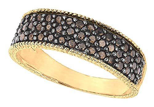 0.65 carat champagne diamonds wedding ring band yellow gold 14K
