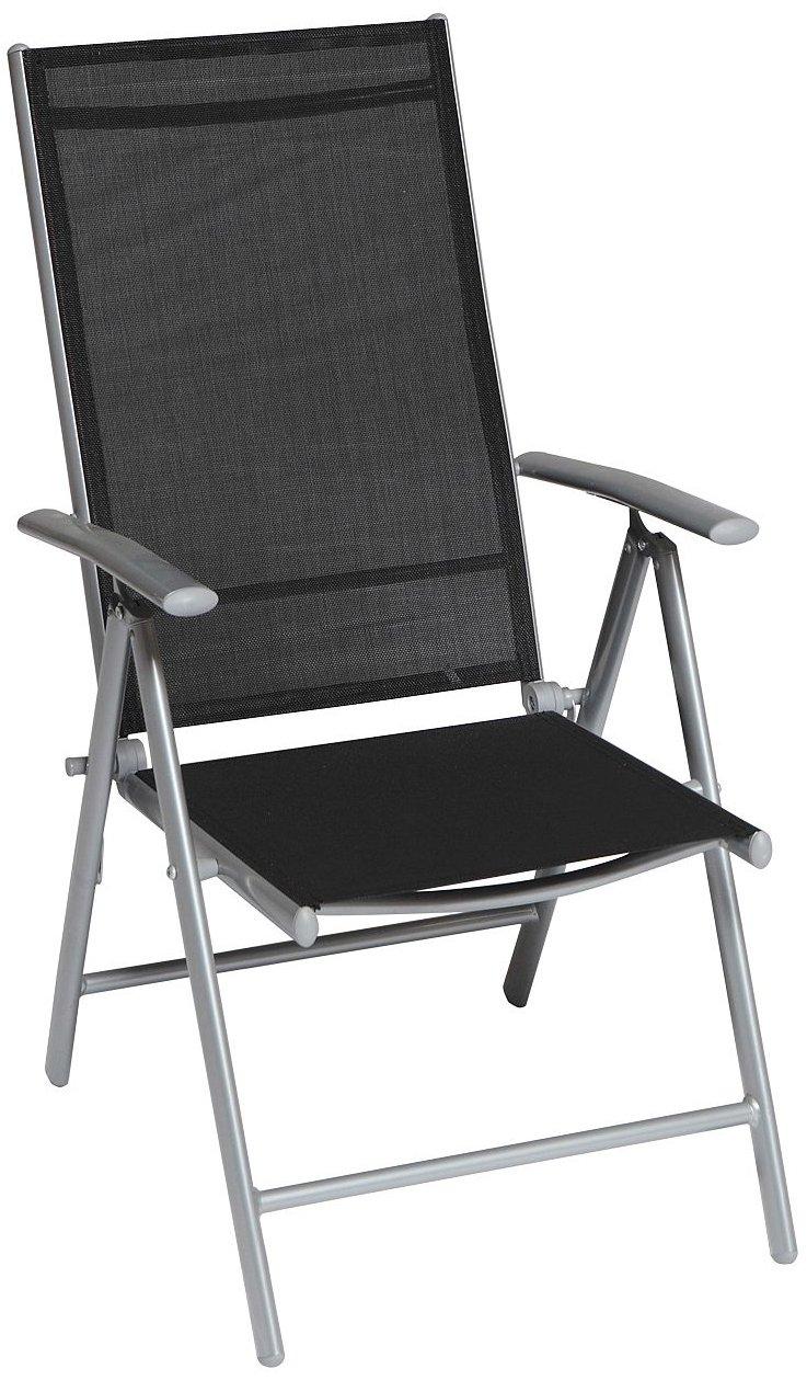 Klappstuhl Serie Amalfi in schwarz mit Textilgewebe 5-fach verstellbar günstig bestellen