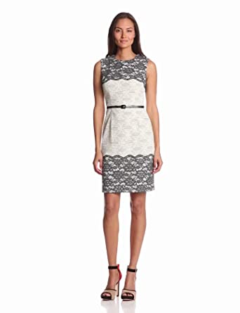 Maggy London Women's Floral Lace Belted Dress, Grey, 2