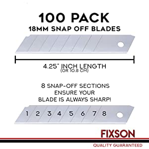 Fixson Box Cutter Utility Knife 18-mm Snap-Off Replacement Blades (100 Pack Replacement Blades) with 1 Retractable Razor Blade Included