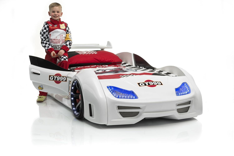Rennwagenbett Jugendbett Autobett Kinderbett GT 999 in weiß mit LED Beleuchtung mit Sound mit Fernbedienung mit Türen mit Lattenrost schnelle Lieferzeit