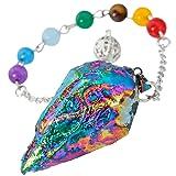 SUNYIK 7 Chakra Titanium Crystal Quartz Pendulum Healing Point Reiki Dowsing Divination Tool,Rainbow (Color: #1-Rainbow Pendulum)