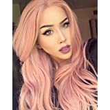 K'ryssma Fashion Orange Pink Lace Wig Mixed Color Glueless Long Natural Wavy Middle Part Synthetic Lace Front Wigs For Women Half Hand Tied Heat Resistant 22 Inch (Color: Pink)