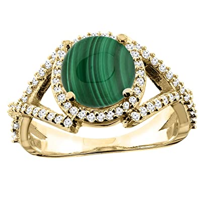 14ct White/Yellow/Rose Gold Natural Malachite Ring Round 8mm Diamond Accent 7/16 inch wide, sizes J - T
