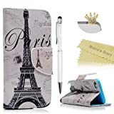 iPod Touch 6 Case, iPod Touch 5 Wallet Case - Mavis's Diary Premium PU Leather with Magnetic Clasp Card Holders Flip Cover for Apple iPod Touch 5th & 6th Generation - Eiffel Tower (Color: Eiffel Tower)