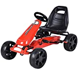 Costzon Go Kart, 4 Wheel Powered Ride On Toy, Outdoor Racer Pedal Car with Clutch, Brake, EVA Rubber Tires, Adjustable Seat, Red (Color: Red, Tamaño: 39.4