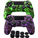 MXRC Silicone rubber cover skin case anti-slip Water Transfer Customize Camouflage for PS4/SLIM/PRO controller x 2(green & purple) + FPS PRO extra height thumb grips x 8 (Color: Print 2 Pack Green Purple, Tamaño: Print Pack)