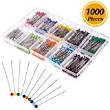 Zealor 1000 Pieces Sewing Pins 38mm Glass Ball Head Pins for Dressmaking Jewelry Components Flower Decoration With Transparent Cases, 10 Colors