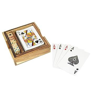 Jeu de cartes et dés tourbillonants - Deux jeux dans une boîte en bois - 2 en 1 - Dés en bois - Jeux de dés - Jeux de cartes - Jeu de société - Jeu de voyage - Environ 10 x 11 x 2,5 cm