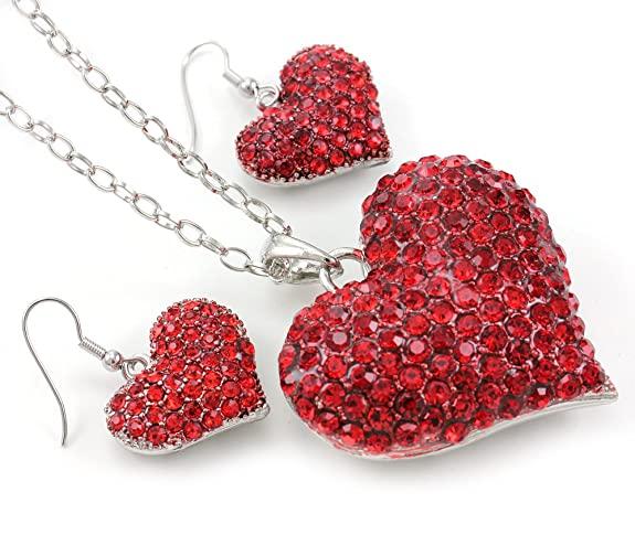 Valentine's Day Gift Red Heart Necklace Pendant Dangle Earrings Gift for Women