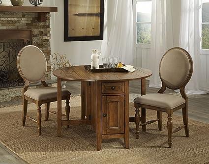 "Rhone Brushed Almond 3 Pc Drop Leaf Dining Set (48"" Round Drop Leaf w/2-16 lvs)"