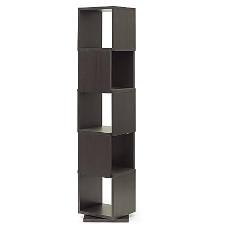 Baxton Studio Ogden 5-Level Rotating Modern Bookshelf, Dark Brown