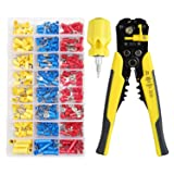 Gaobige Crimping Tool Kit, 3 in 1 Wire Stripper, Self-adjusting Cable Cutter Crimper for Wire Stripping, Cutting, Crimping, a 6 in 1 Mini Screwdriver, 400 PCS Cold Press Terminals (Color: Yellow Wire Stripper Tool Kit)