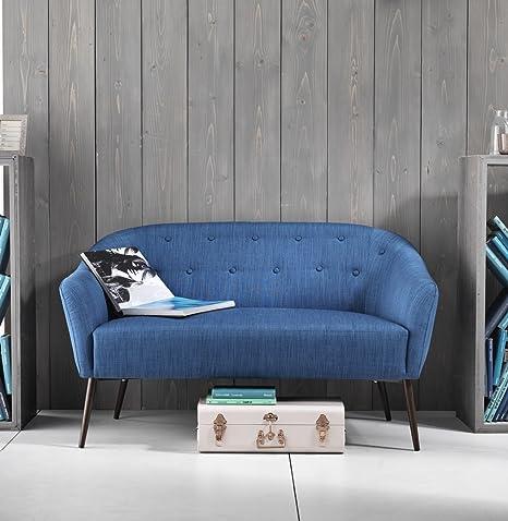 Sofá Salón Dormitorio de cama cocina a dos plazas. Vega. Estructura de metal. Color azul.