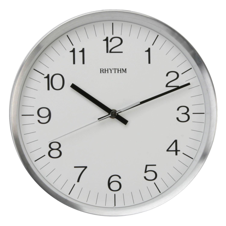 Rhythm Metal Case Quartz Wall Clock Aluminium 25cm