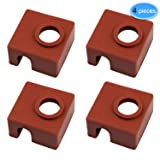 EAONE 3D Printer Heater Block Silicone Cover MK7 MK8 MK9 Hotend Thermal Protection Silicon Socks for Creality CR-10, 10S, S4, S5, Ender 3, ANET A8, 4 Pieces