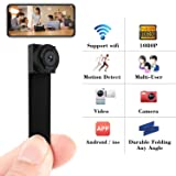 Spy Camera 1080P Hidden Mini Camera Wifi Wireless Small Portable Security Cameras with Motion Detection Indoor Outdoor for Home Office (Color: black)