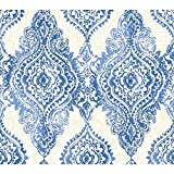 York Wallcoverings WH2706SMP Wallpaper-Her Boho Chic Wallpaper Memo Sample, 8-Inch x 10-Inch, Cobalt Blue, Champagne, White