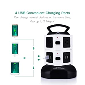 Power Strip Tower-JACKYLED Surge Protector Electric Charging Station 3000W 13A 16AWG 6 Outlet Plugs with 4 USB Slot 6ft Cord Wire Extension Universal Charging Station Office (Color: Black and White, Tamaño: 6 Outlet Plugs with 4 USB)